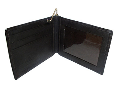 Lambskin Leather Credit Card Metal Clip Bifold Wallet Available in Black and Brown Colors #MW301162