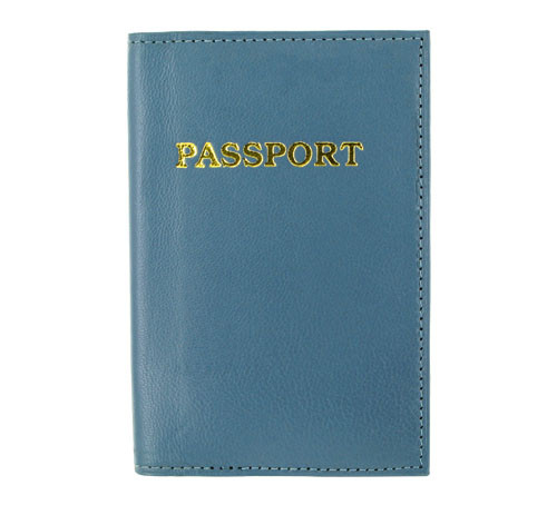 Blue Leather Cover Passport Holder Travel 5.5 x 3.75 inch Wallet