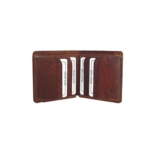 New Mens Cowhide Burgundy Leather Two billfolds Wallet More Credit card Slots