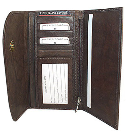 New Genuine Cowhide Brown Leather Checkbook 7.25 x 4 inch Wallet