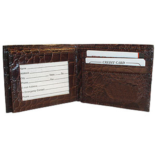 Mens Crocodile Leather Bifold Credit Card Wallet