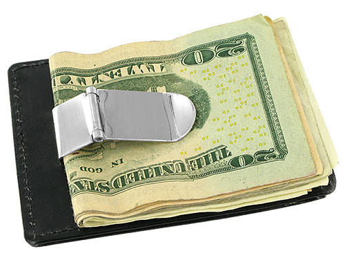 Leather and Metal Money Clip Credit Card Slot Available in Black and Brown Colors #MW30CA262