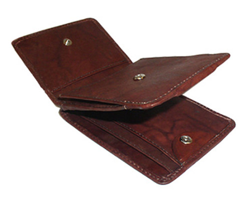 Mens Genuine Leather Money and Credit Card Holder Wallet Available in Burgundy and Tan Colors