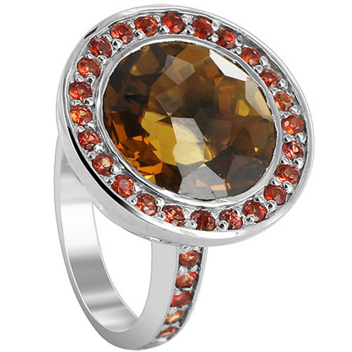 925 Sterling Silver Round Whisky Quartz and Red Sapphire Stone 3mm Ring Size 6.5