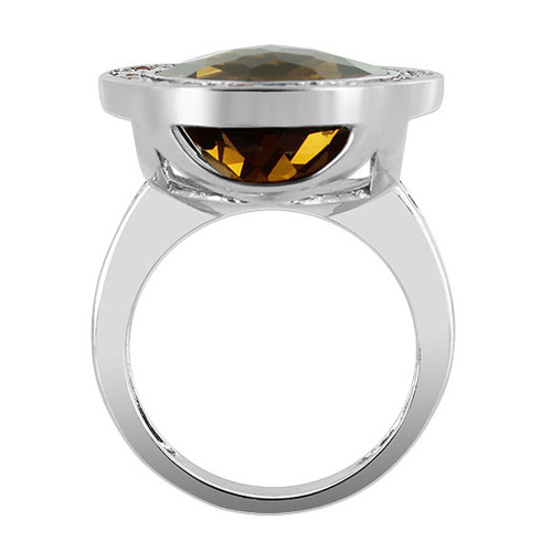 925 Silver Round Whisky Quartz Sapphire Stone Ring Size 6.5