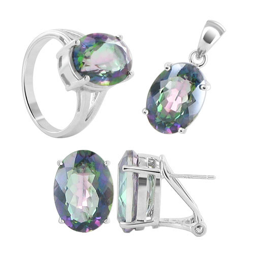 925 Sterling Silver Mystic Fire 10mm x 13mm Oval Pendant Earrings and Ring Jewelry SetSize 7