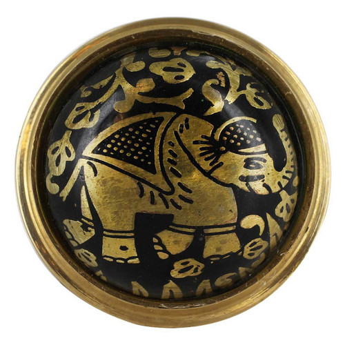 Round Plate with Elephant Design Black Enamel Ring Size 6 to 8 Adjustable