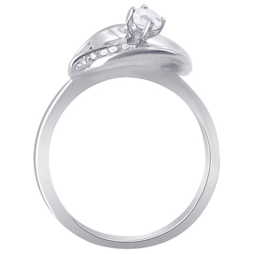 925 Silver Round Clear Cubic Zirconia Leaf Design Ring Size 7