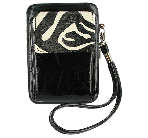 Simple and Stylish Wristlet with a shoulder Black Color Zeebra Strap