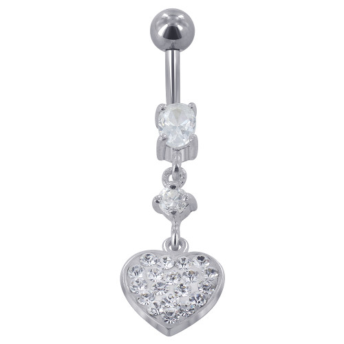 925 Sterling Silver with Stainless Steel Studded Clear Cubic Zirconia 10mm Heart Barbell #Y011