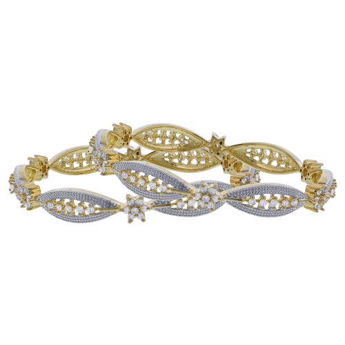 Indian Bollywood Gold Plated CZ Flower Bangle Bracelets