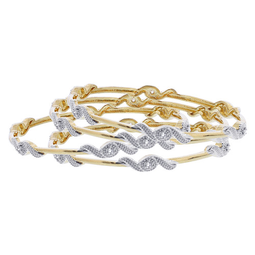 Bollywood Indian Gold Plated Cubic Zirconia Bangle Bracelets