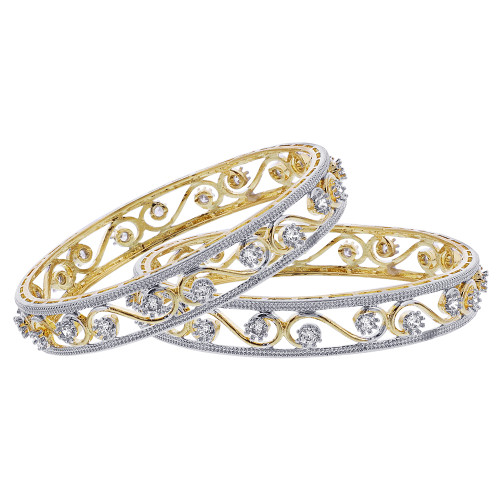 Cubic Zirconia Swirl Design Bollywood Indian Bangle Bracelets