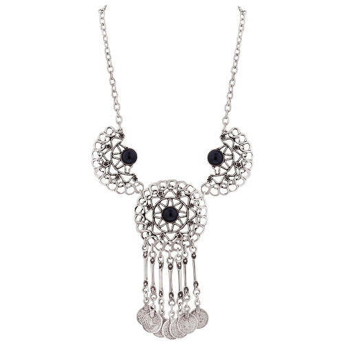 """Zinc Black Onyx Floral Design and Coin Style Necklace 20.5"""""""