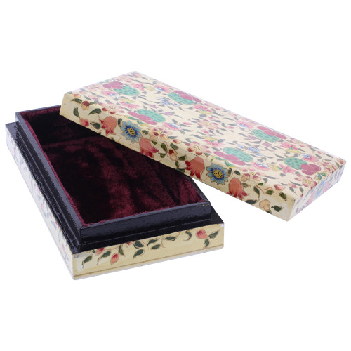 Rustic Hand Painted Floral Design Rectangle Jewelry Box #GX001