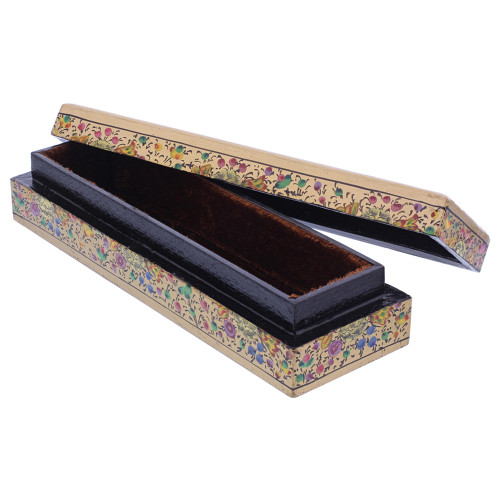 Gold Rustic Hand Painted Floral Design Narrow Rectangle Jewelry Box #GX002