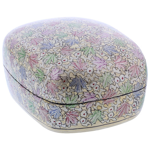 Rustic Hand Painted Foliage Design Dome Jewelry Box