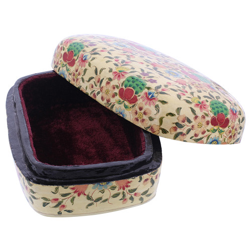 Rustic Hand Painted Floral Design Dome Jewelry Box #GX004
