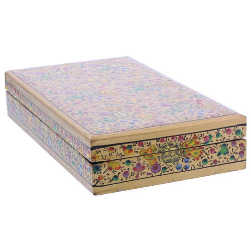 Gold Rustic Hand Painted Floral Design Wide Rectangle Jewelry Box #GX005