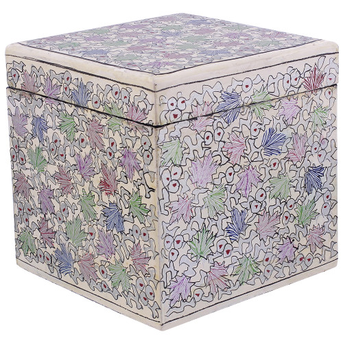 White Rustic Hand Painted Foliage Design Ornament Cube Box Set #GX012