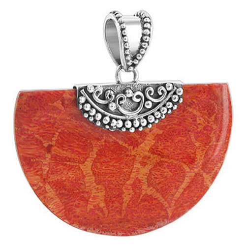 925 Silver Geo-metric Style Coral Pendant