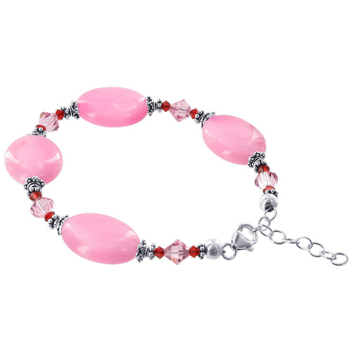 925 Sterling Silver Oval Pink Glass Beads with Swarovski Elements Crystal Handmade Bracelet 7 to 8 inch Adjustable