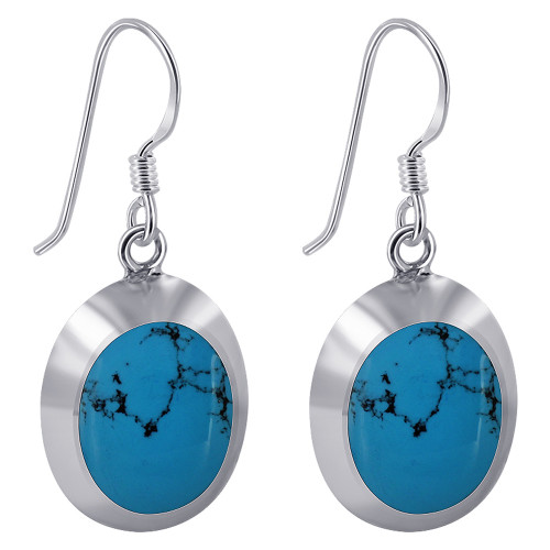 925 Sterling Silver 14mm x 17mm Oval with Silver Border Reconstituted Turquoise Gemstone French Wire Drop Earrings
