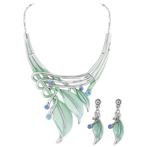Green Leaves and Rhinestone Silver Tone Fashion Earrings 18.25 inch Necklace Set #GS016