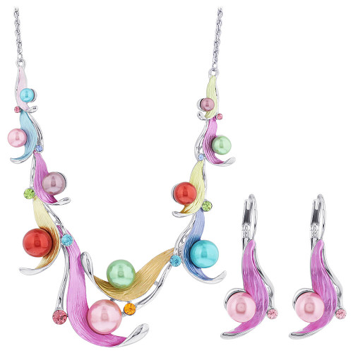 Multi Color Leaves Rhinestones Silver Tone Fashion Earrings Rope Chain Necklace