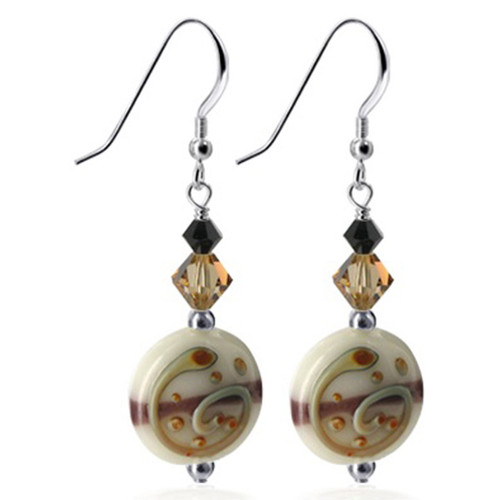 Blown Glass and Black and Brown Swarovski Crystal Handmade Drop Earrings