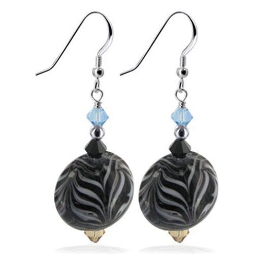 925 Silver Made With Swarovski Elements Blue Tan and Black Color Crystal Handmade Drop Earrings