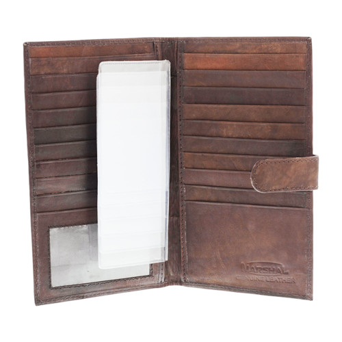 Leather Credit Card Holder Wallet Dark Brown