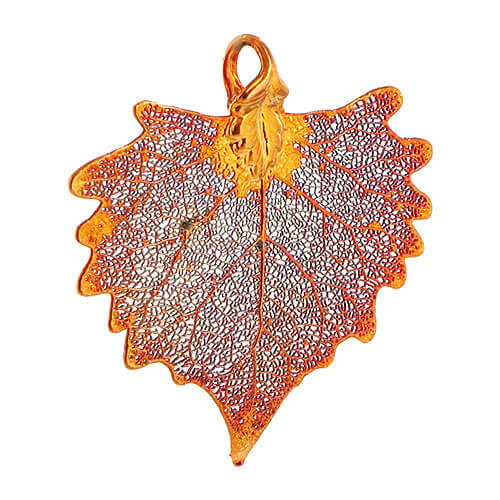 Iridescent Copper Plated Cottonwood Real Leaf Pendant