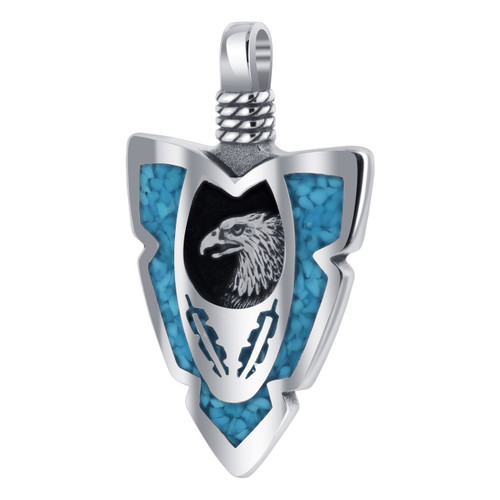 Sterling Silver Turquoise Chip Inlay Eagle Pendant