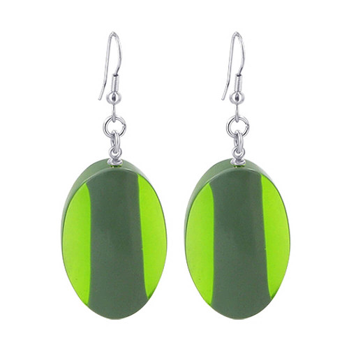 Stainless Steel 1 x 1.4 inch Oval Green Resin French wire Drop Earrings