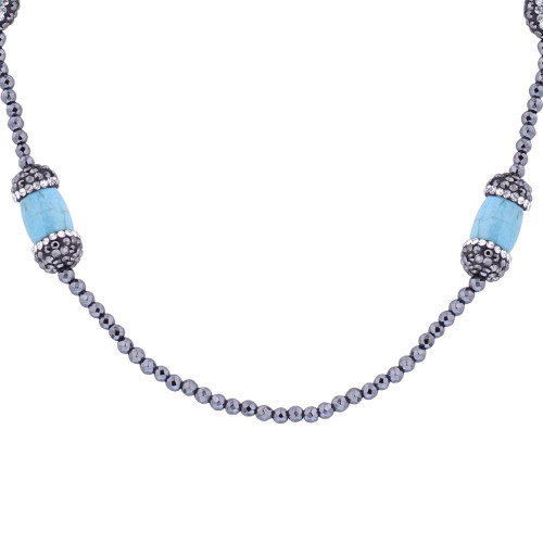 Light Blue Simulated Stones Necklace 30 inch #GN029-30