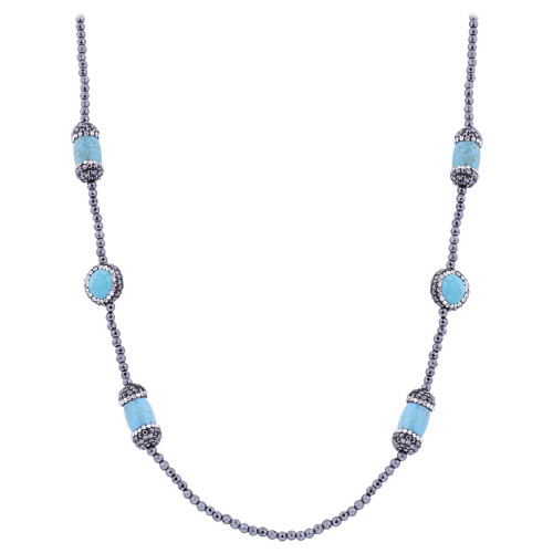 Light Blue Simulated Stones Necklace 30 inch