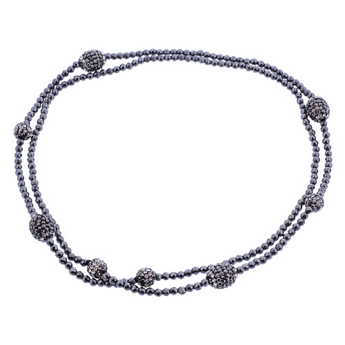 Black Simulated Stones Necklace 30 inch #GN030-30