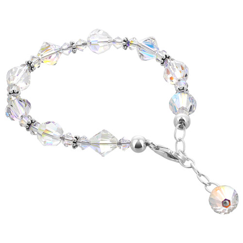 925 Silver Beads Bicon & Ball shape faceted Crystal Bracelet