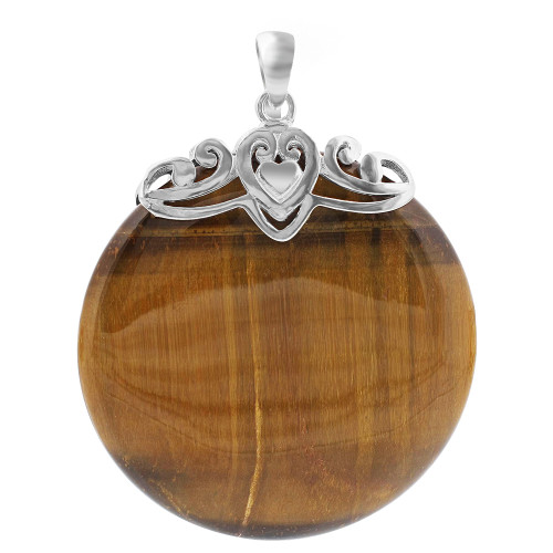 Silver Bail with Heart and Tiger Eye Gemstone Pendant