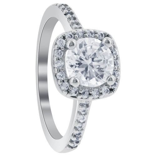Silver Plated 7mm Round Cubic Zirconia Solitaire with Accents Ring