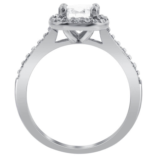 Silver Plated CZ Solitaire with Accents Ring #GR204