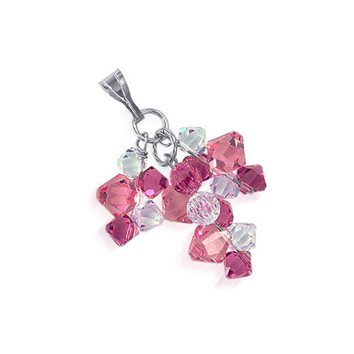Silver Round with Bicone Clear and Pink Crystal Pendant