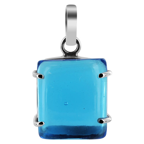 925 Silver 18mm x 20mm Rectangle Blue Glass Pendant