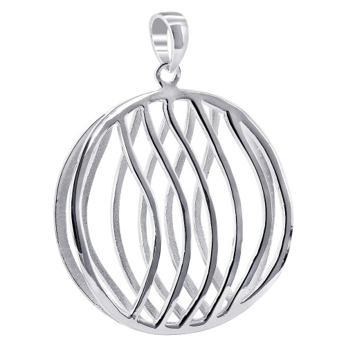 925 Silver 1.3 inch Round with Wavy Design Pendant