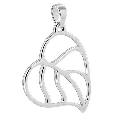 925 Sterling Silver 0.8 x 1 inch Detailed Leaf Pendant