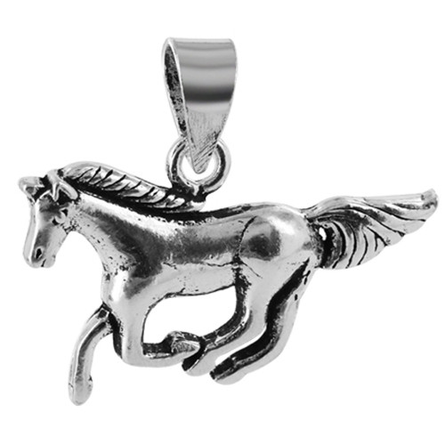 925 Sterling Silver 0.6 x 1 inch Galloping Horse Pendant