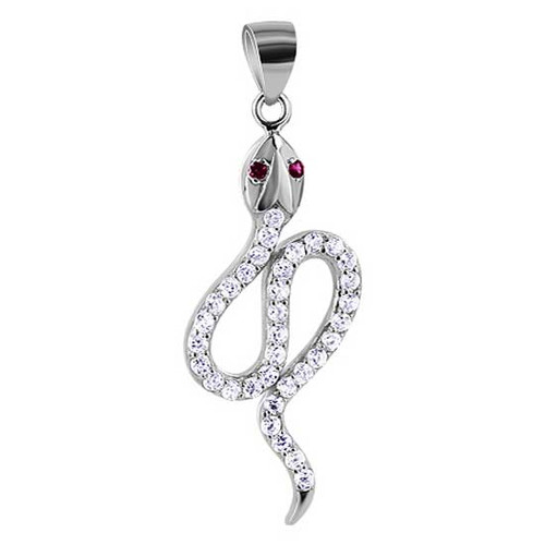 925 Silver Clear and Ruby Cubic Zirconia Snake Pendant
