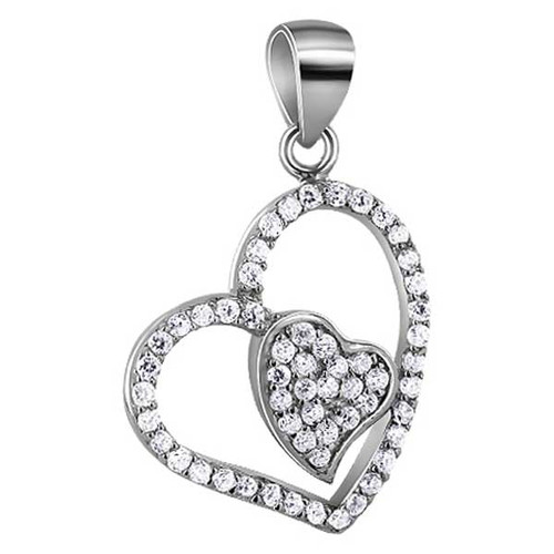 925 Silver Clear Cubic Zirconia Two Studded Heart Pendant