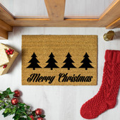 Christmas Trees with Merry Christmas Greeting Doormat